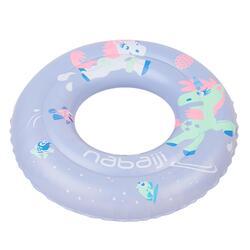 3至6歲兒童充氣式游泳圈51 cm紫色「獨角獸」印花