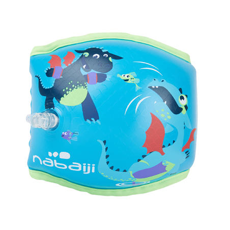 "Swimming armbands with fabric interior for 15-30 kg kids - blue ""Dragon"" print"