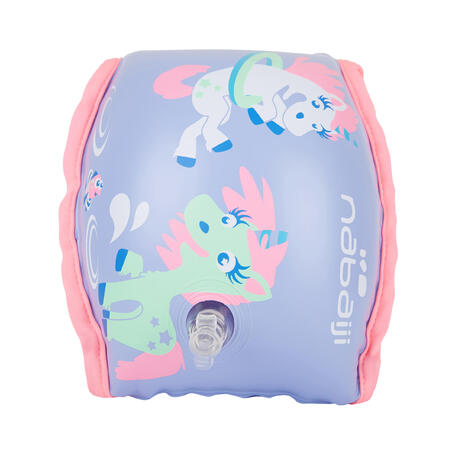 "Swimming armbands with fabric interior for 15-30 kg kids purple ""unicorn"" print"