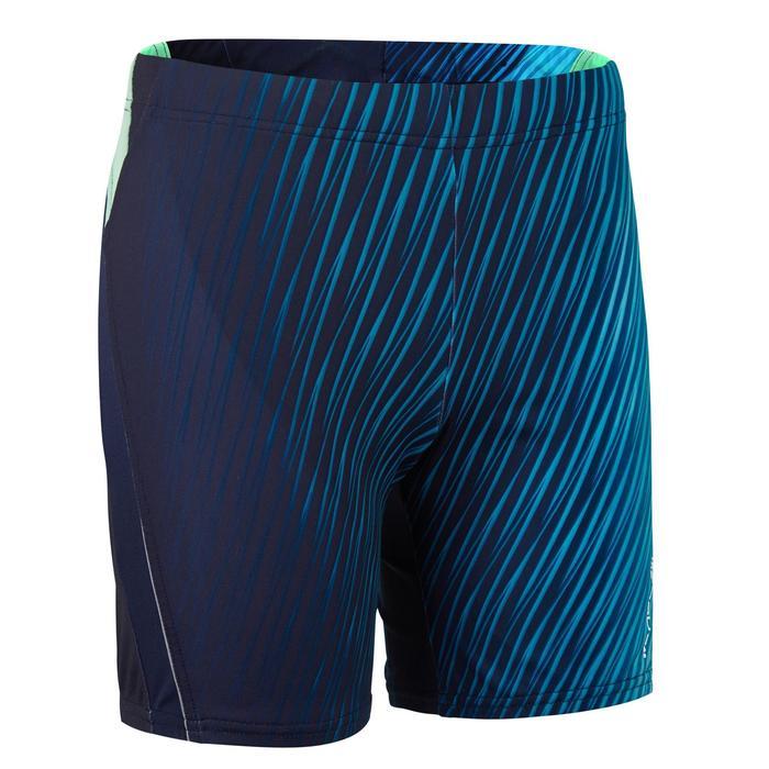 男款長版四角泳褲500 - 藍色
