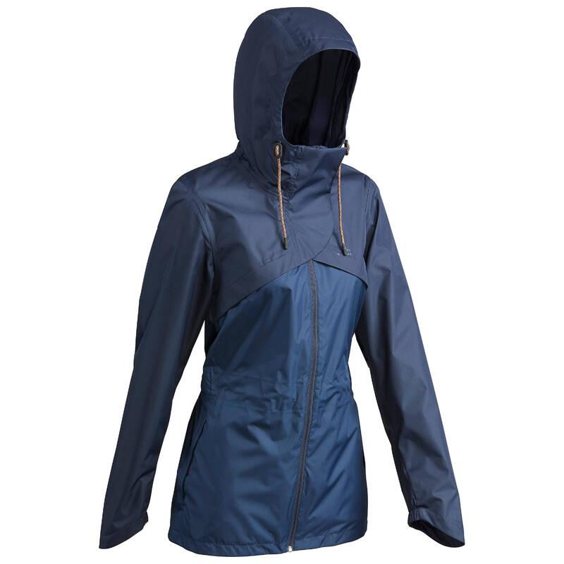 DÁMSKÉ NEPROMOKAVÉ BUNDY Turistika - Nepromokavá bunda NH 500 modrá QUECHUA - Turistické oblečení