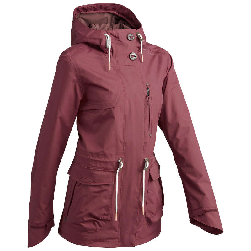 WOMEN NATURE HIKING JACKETS ALL WEATHER Hiking - NH500 Protect Women's - Maroon QUECHUA - Hiking Clothes