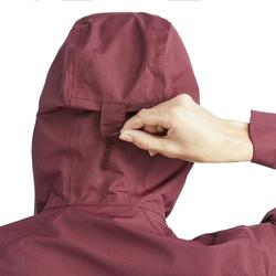 Regenjacke NH500 Protect Damen bordeauxrot für Naturwanderungen