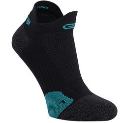 RUNNING INVISIBLE FINE SOCKS KIPRUN - BLACK/TURQUOISE