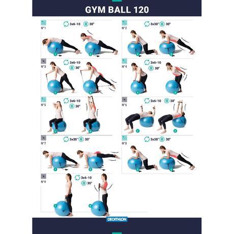 swiss ball with elastic straps  blue  domyosdecathlon
