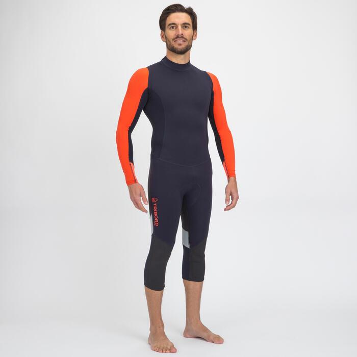 Uv-werende wetsuit voor zeilen neopreen 1 mm heren 500 zwartblauw/oranje