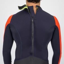 Uv-werende wetsuit voor heren neopreen 1 mm Dinghy 500 blauw/zwart/oranje