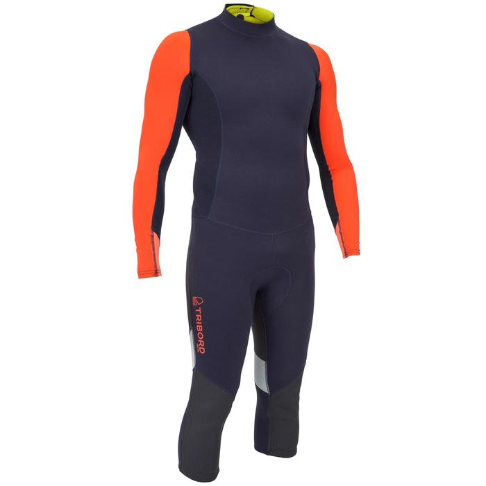 """Uv-werende wetsuit voor heren neopreen 1 mm Dinghy 500 blauw/zwart/oranje"""""""