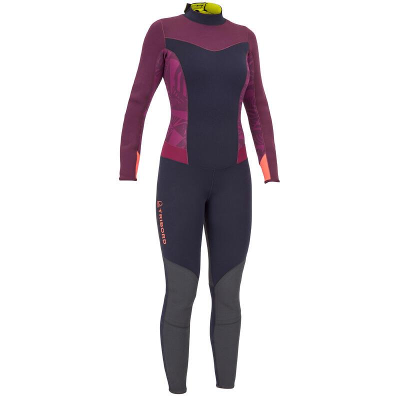 Dinghy 500 Women's Sailing GBS 3/2 mm Neoprene Wetsuit - Purple/Black