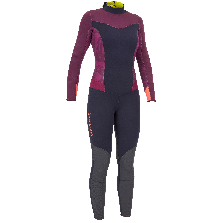 Neoprenanzug Dinghy 500 Jolle 3/2 mm geklebt/genäht Damen violett/schwarz | Sportbekleidung > Sportanzüge | Violett - Blau | Tribord