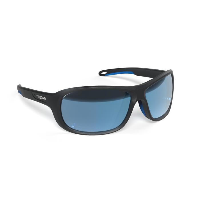 Watersportbril Race 100 voor volwassenen zwart, polariserend categorie 3