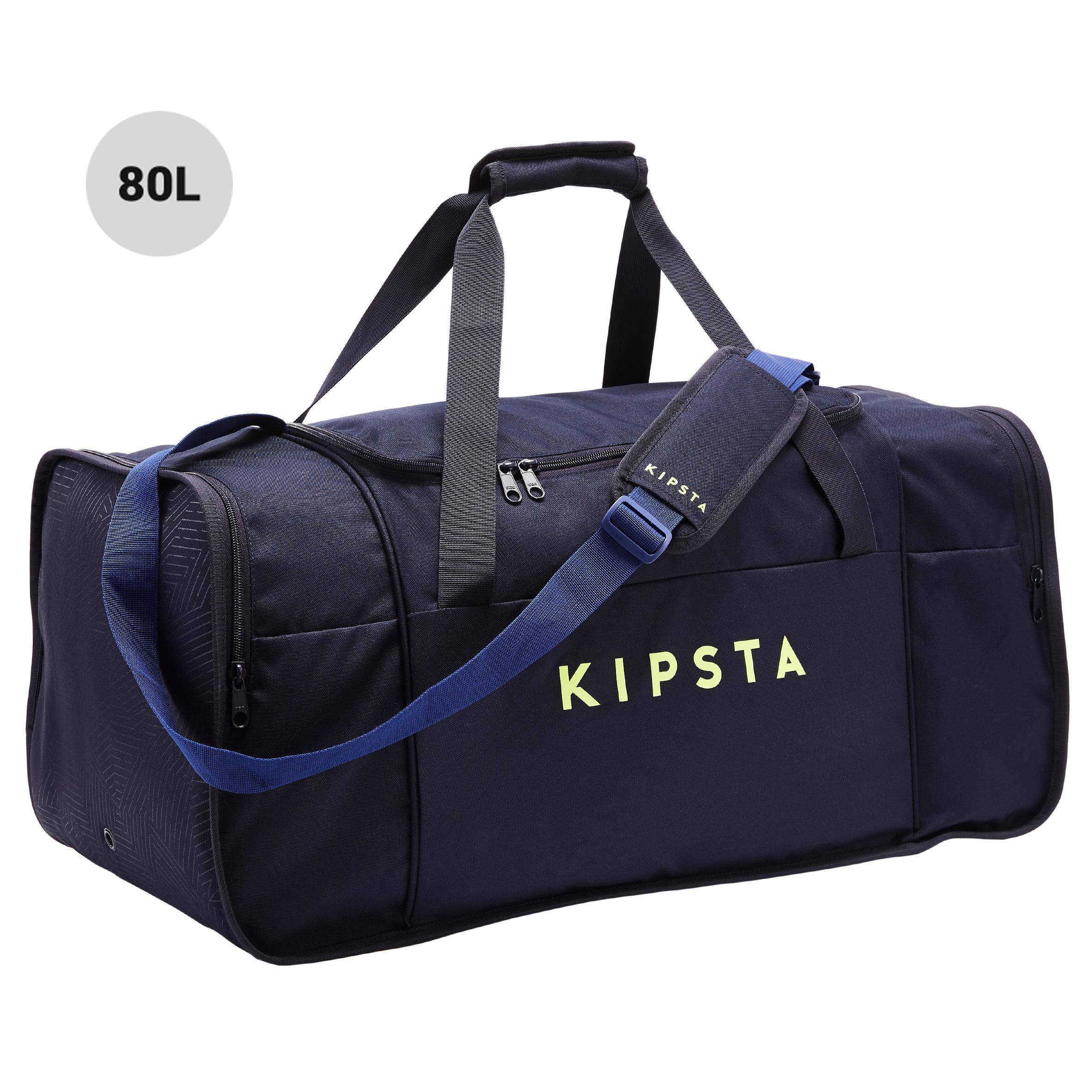 Maleta deportiva Kipocket 80 litros azul y amarilla