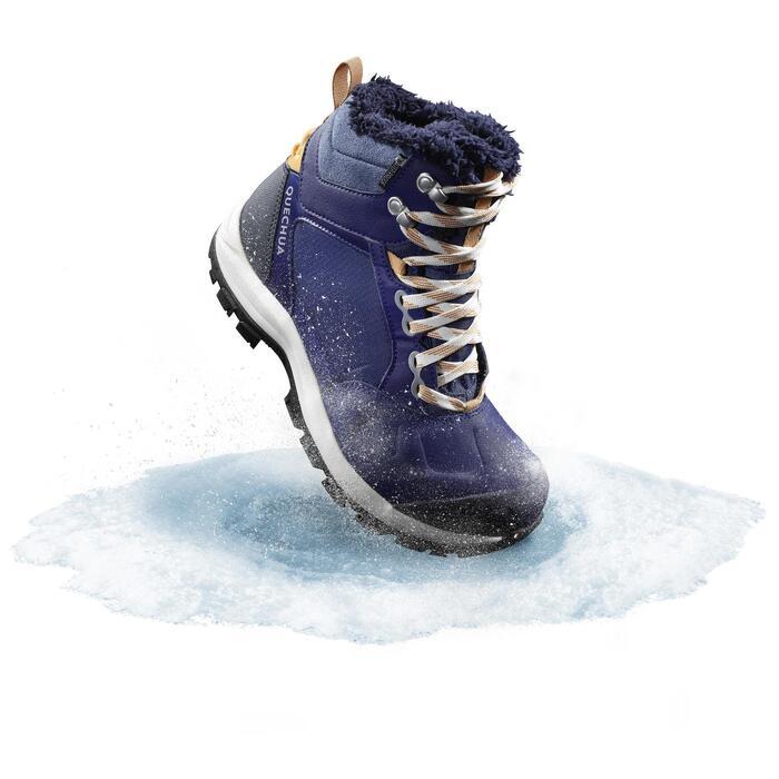 Snowboots dames SH520 X-warm mid blauw