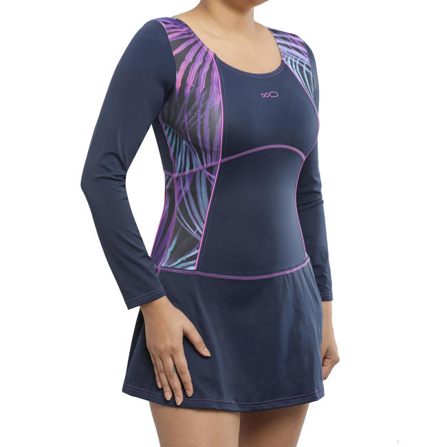 Women Swimming Costume Full sleeves with skirt - purple with side print