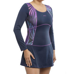 b956630bc04 Women Swimming Costume Full sleeves with skirt - purple with.