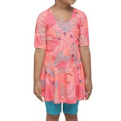 Girl swimming costume half sleeves with half leggings - pink blue