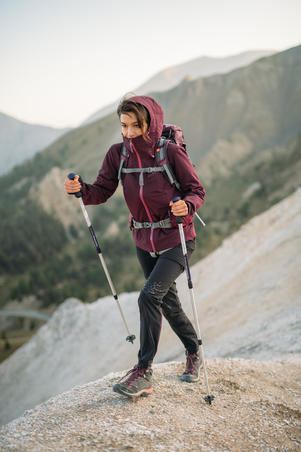 MH500 Women's Mountain Hiking waterproof Jacket - Plum