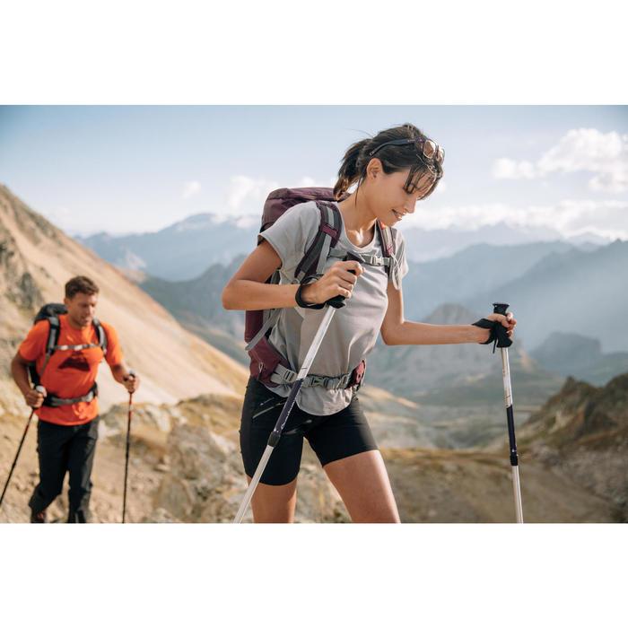 Dames T-shirt met korte mouwen voor bergwandelen MH500 grijs