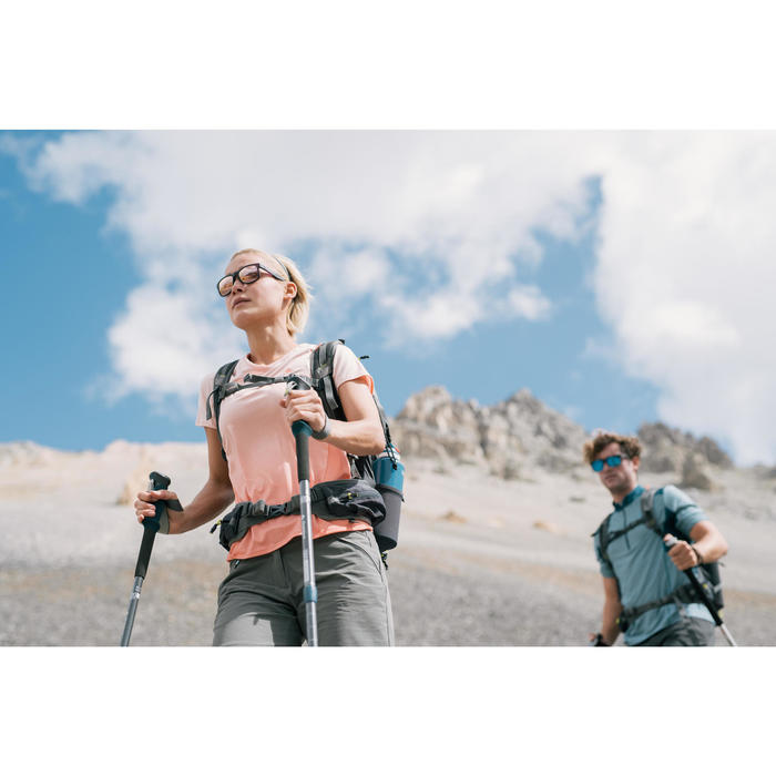 Camiseta manga corta de senderismo montaña Mujer MH500 Salmón