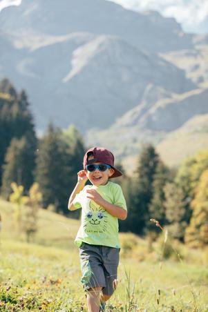 MH100 yellow kid's hiking t-shirt - navy blue