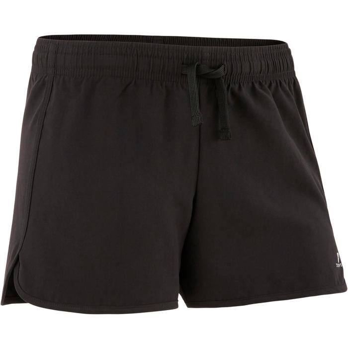 Ademende short voor gym meisjes W500 zwart
