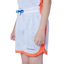 Omkeerbare basketbalshort voor jongens/meisjes blauw/wit/oranje SH500R