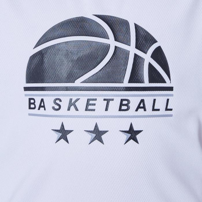 T500 Boys'/Girls' Intermediate Basketball Jersey - White/Grey