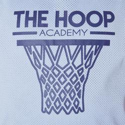 T500R Boys'/Girls' Intermediate Basketball Reversible Jersey - Navy/Grey Hoop