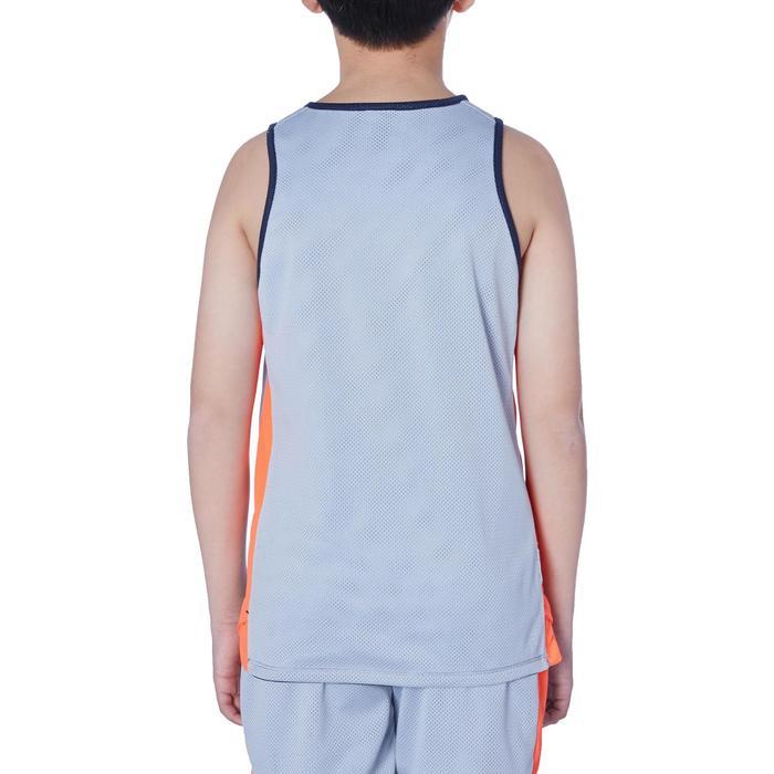 兒童款中階雙面籃球背心T500R-軍藍色/灰色/ Hoop款