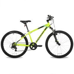 """24""""九至十二歲兒童登山車Rockrider ST 500 - 霓虹黃"""