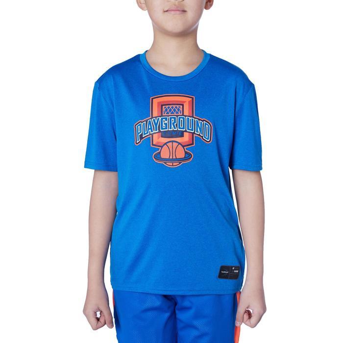 Basketballshirt TS500 Kinder blau mit Print