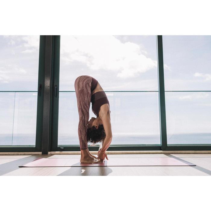 Omkeerbare legging voor dynamische yoga zwart / roze print