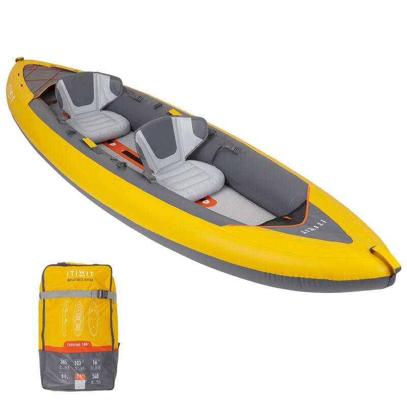 Kayak Canoa Hinchable Travesía X100+ Drop Stitch Fondo Alta Presión 2 Plazas