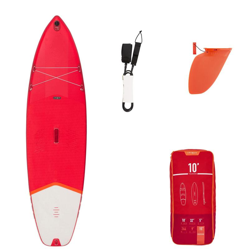 Beginner Inflatable Stand-Up Paddleboard 10 Feet - Red
