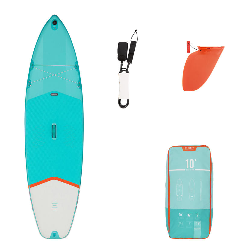 BEGINNER TOURING INFLATABLE STAND-UP PADDLEBOARD 10 FOOT - GREEN