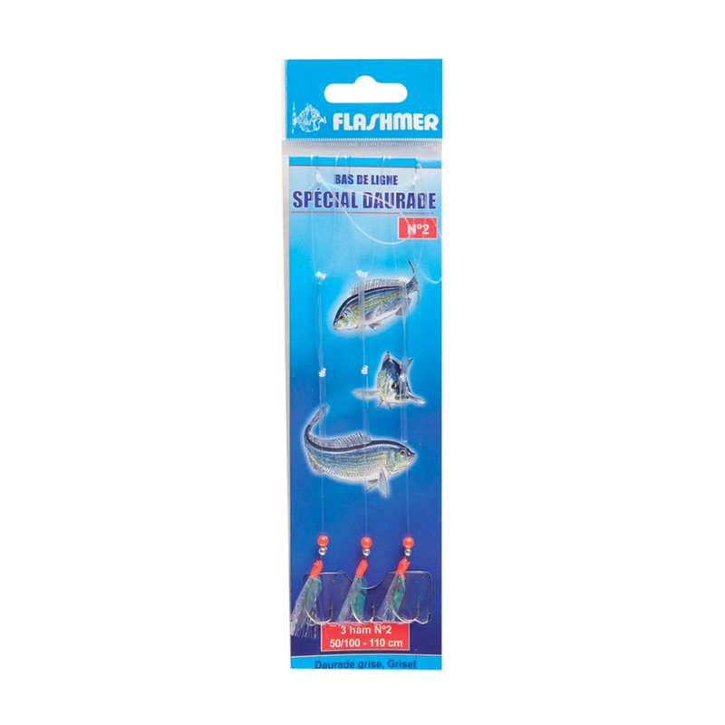 FEATHERS TRAINS Fishing - Sea bream special 3 N°2 hooks FLASHMER - Fishing