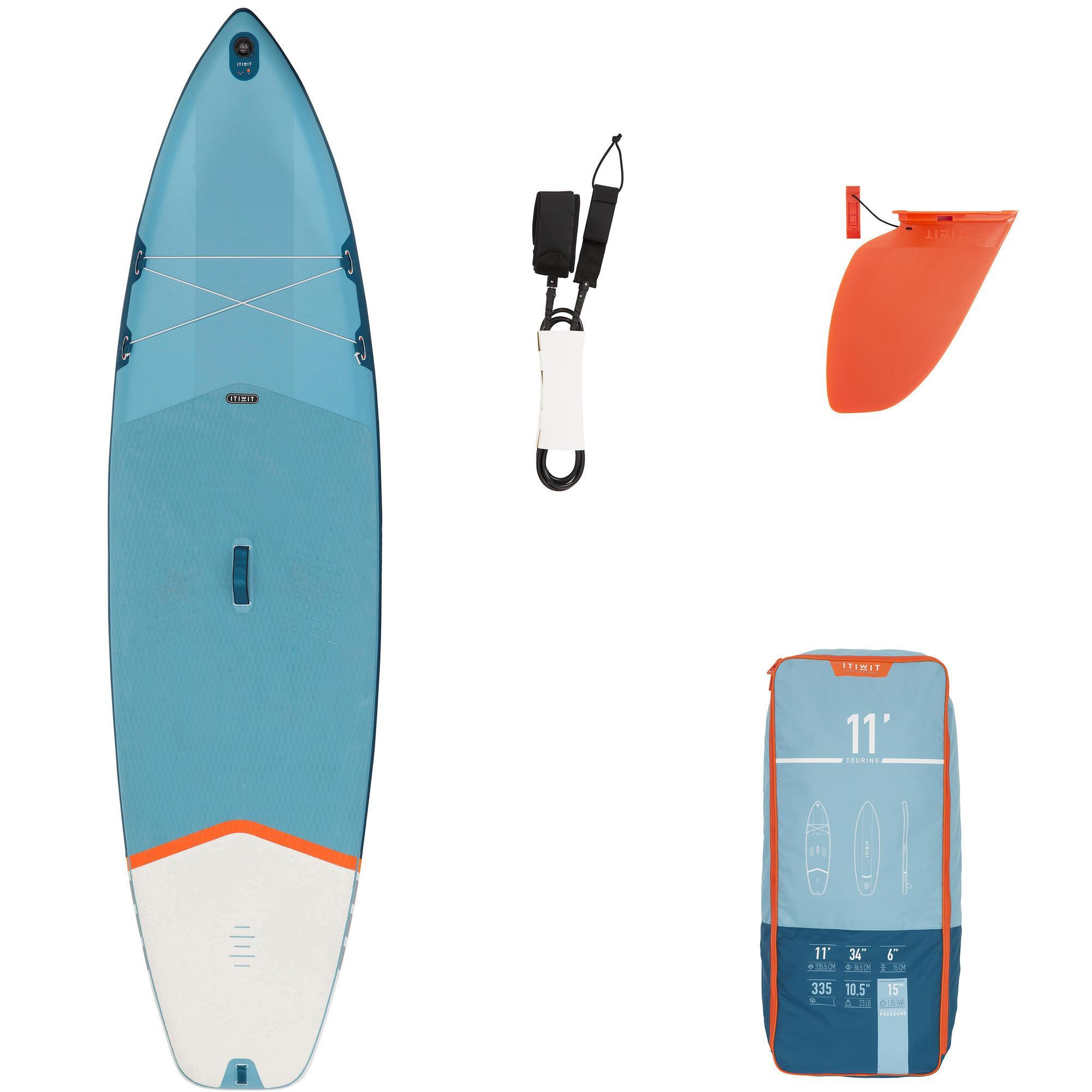 "Decathlon 11'0"" Touring SUP Board - Einsteiger - SUP-Board Stand Up Paddle Board aufblasbar - blau"