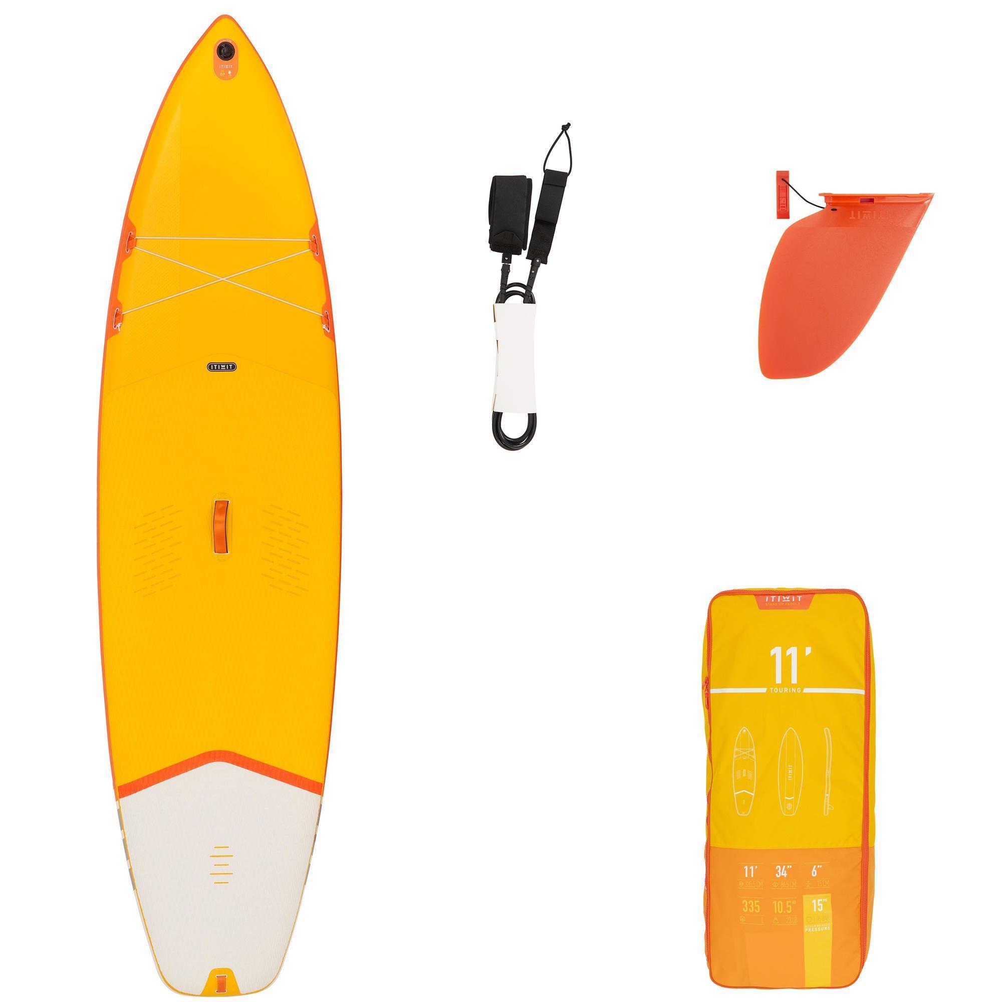 """Decathlon 11'0"""" Touring Einsteiger SUP Board - Stand Up Paddle aufblasbar - gelb"""