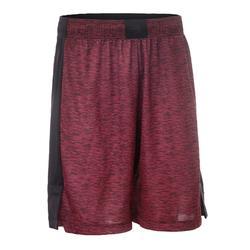 中階籃球短褲SH500-酒紅色/黑色