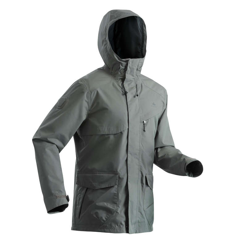 MEN NATURE HIKING JACKETS ALL WEATHER Hiking - Waterproof Jacket NH550 - Kki QUECHUA - Hiking Jackets