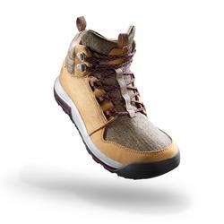女款郊野健行防水中筒靴 NH500-米色