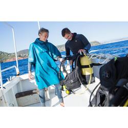 SCD windbreaker fleece poncho for scuba diving blue