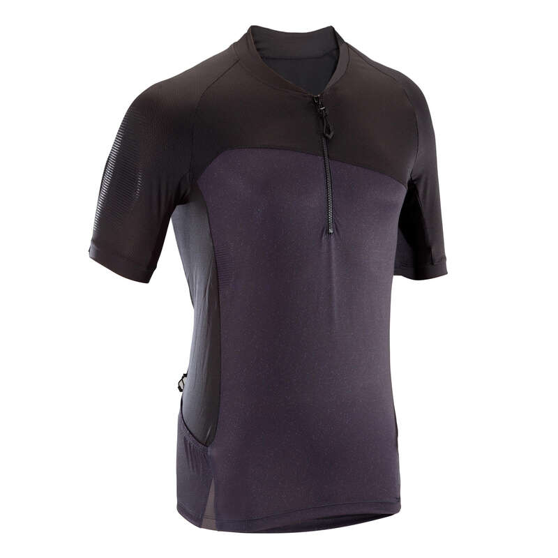 MEN WARM WEATHER ST MTB APPAREL Cycling - ST500 Short Sleeve Mountain Bike Jersey - Black ROCKRIDER - Cycling