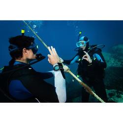Duikbril voor diepzeeduiken SCD 100 transparante mantel en turquoise rand