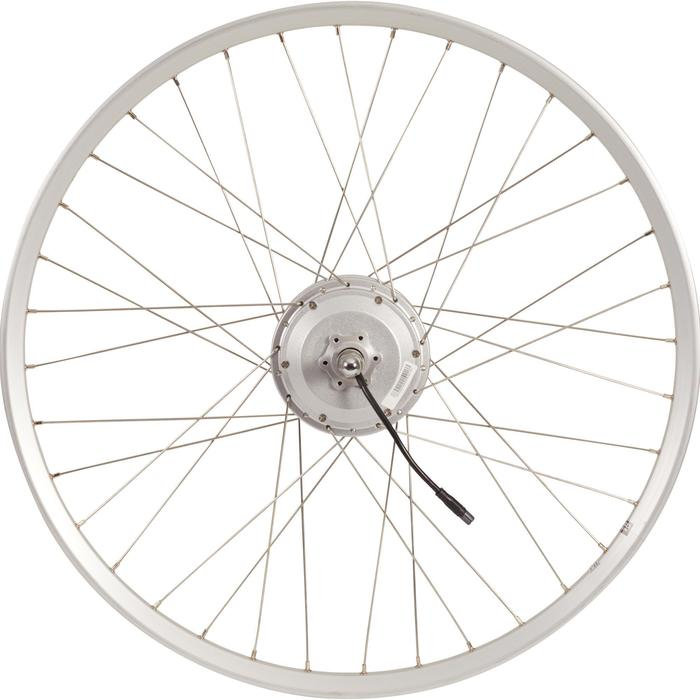 """Rueda trasera bicicleta eléctrica 28"""" doble pared 36v plateada"""