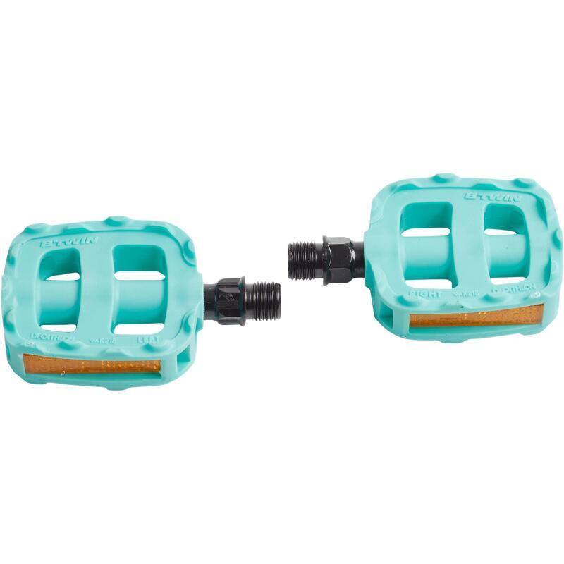 Pédales vélo enfant 12 et 14 pouces turquoise