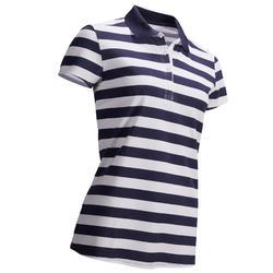 女款溫和氣候高爾夫POLO衫-白色與軍藍配色
