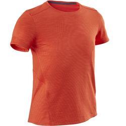 Camiseta Manga Corta Deportiva Gimnasia Domyos 500 Niño Naranja Transpirable
