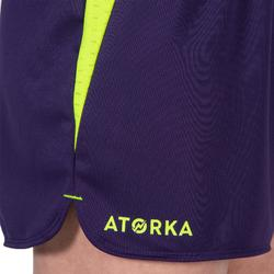 Short de handball H500 femme violet / jaune