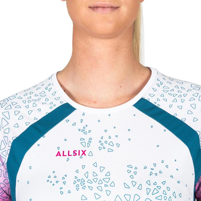 Maillot de volley-ball femme V500 blanc turquoise et rose